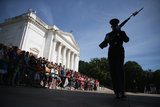 A member of the Army's Old Guard stands at the Tomb of the Unknowns at Arlington National Cemetery on Memorial Day.
