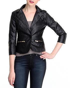 SALES angel squad vegan leather blazer w/zipper