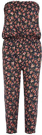 Navy floral print jumpsuit