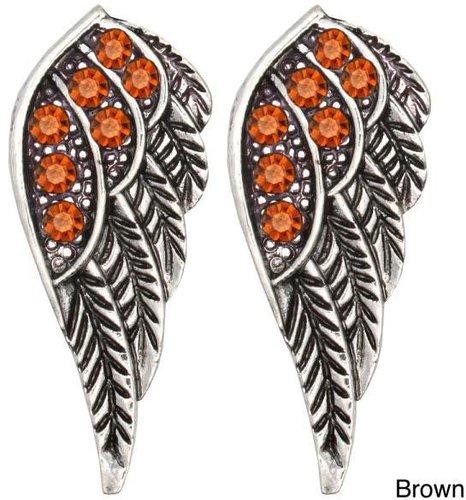 Kate Marie Silvertone Rhinestone Wing Design Earrings