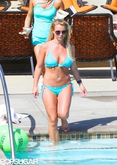 Britney Spears cooled off in the pool at a resort in Rancho Palos Verdes, CA.