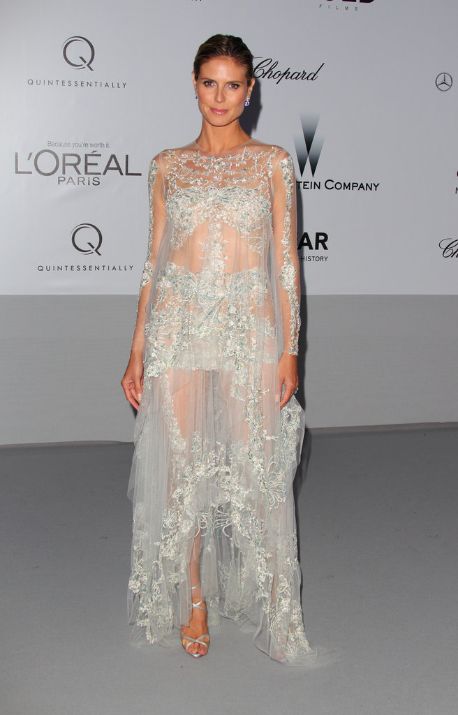 For the 2012 amfAR Gala, Heidi glowed in a very sheer, ultraembellished Marchesa gown that left little to the imagination.