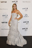 Heidi Klum shimmered in a frothy, tiered, strapless creation at the amfAR Milano Gala in 2011.