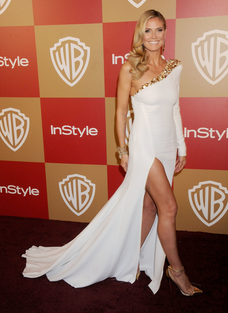 Heidi embodied a Grecian goddess at InStyle's 2013 Golden Globe Party donning a sexy one-shoulder Alexandre Vauthier creation, complete with a thigh-high slit, dramatic train, and multicolored stone embellishment.