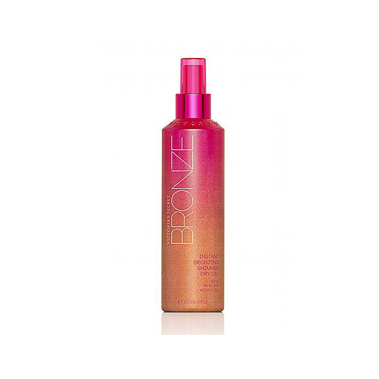 Victoria's Secret Bronze Instant Bronzing Shimmer Dry Oil ($15) leaves gams shiny with a little bit of shimmer, à la our favorite Parisian dry oil, Nuxe, but it's easier to find and easy on the wallet, too. — KJ