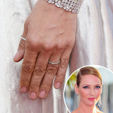 Uma Thurman's closing ceremony gown was high on sheen, so she opted for a sheer wash of pink on her nails.