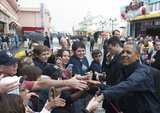 President Obama greeted citizens along the boardwalk during his visit to Point Pleasant, NJ.