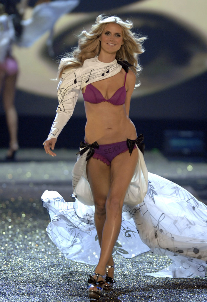 At the Victoria's Secret show, Heidi Klum wore a purple number in December 2007.