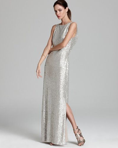 Lauren Ralph Lauren Sleeveless Sequined Mesh Cowl Back Gown