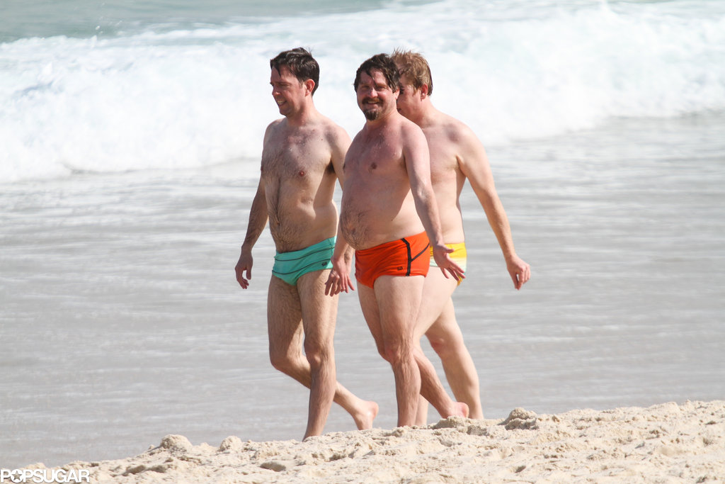 Ed Helms and Zach Galifianakis enjoyed a beach day with a friend.