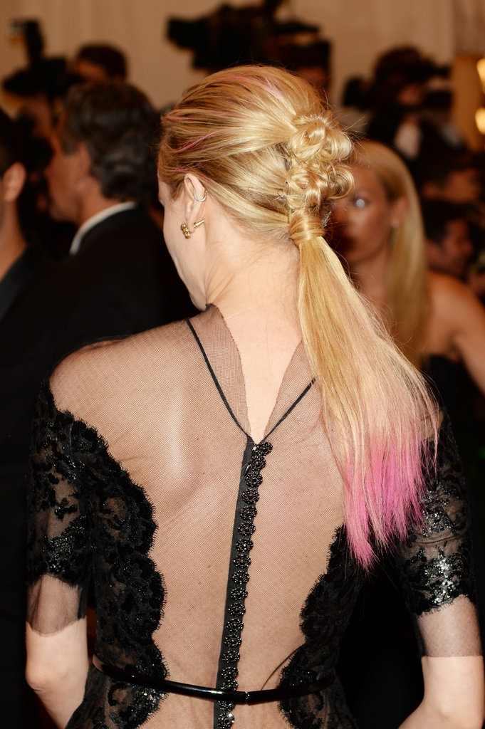 Diane Kruger's punk ponytail at the Met Gala was part chignon with hot-pink tips.