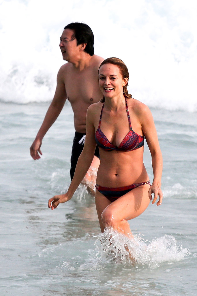 Ken Jeong and Heather Graham had fun together in the waves.