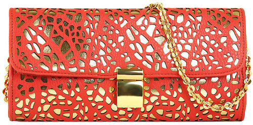 IVANKA TRUMP Ashleigh Metallic Laser-Cut Clutch