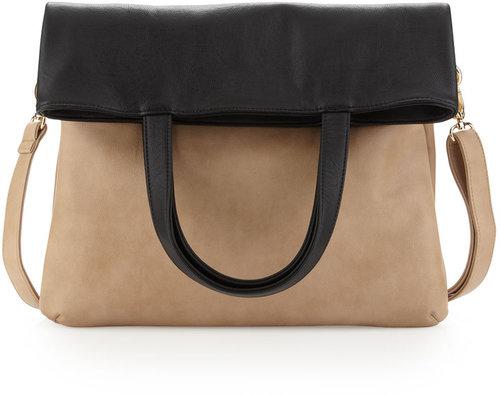Neiman Marcus Colorblock Fold-Over Tote Bag, Tan/Black