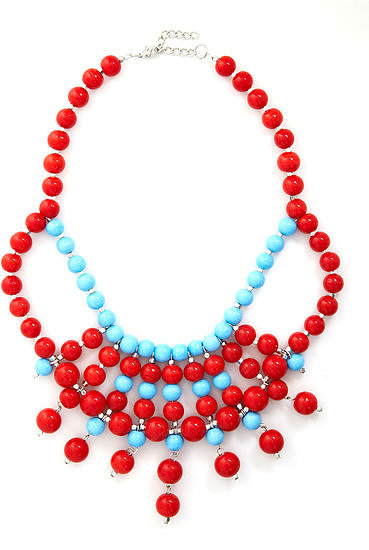 This Mod Cloth Bijou Said It necklace ($25) provides a cool way to wear your festive red and blue this Summer.