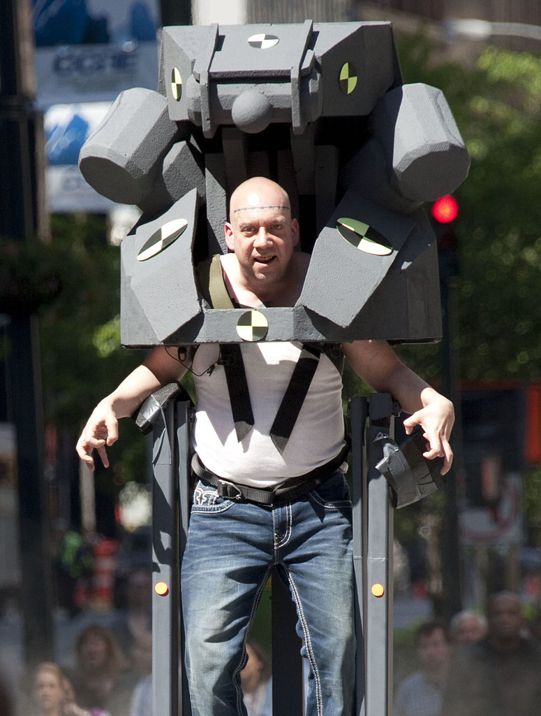 Paul Giamatti put his action face on in NYC on Wednesday while on the set of The Amazing Spider-Man 2.