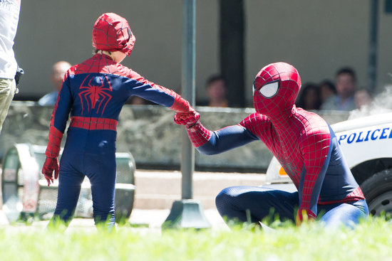 Andrew Garfield bonded with his mini me, Jorge Vega, on the NYC set of The Amazing Spider-Man 2 on Monday.