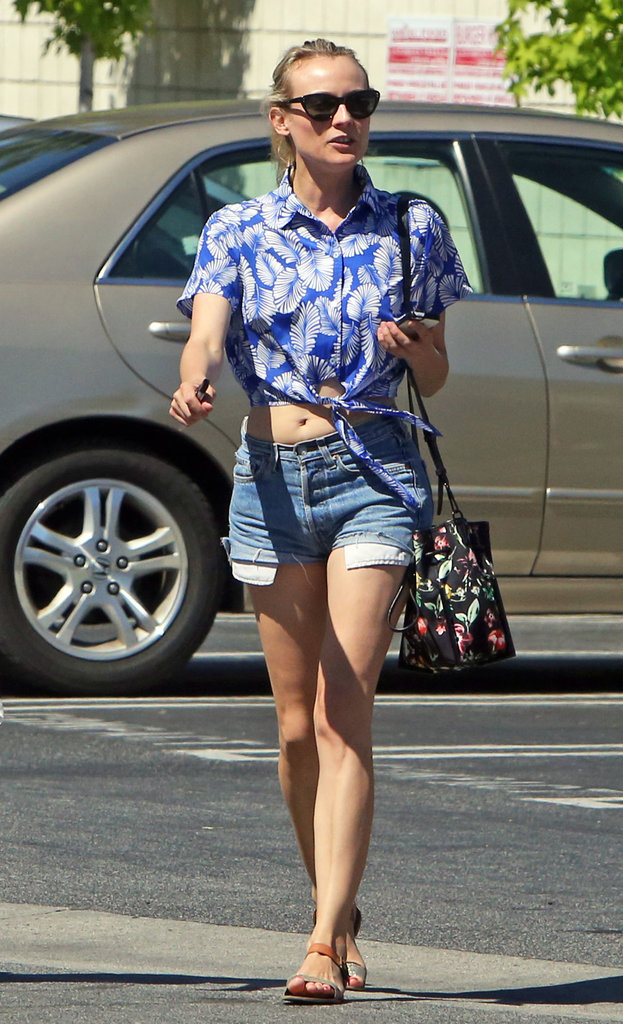 Diane Kruger wore cutoff shorts.
