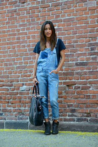 Proof that overalls are adult — and fashion — friendly; just add ankle-boots and a well-worn tee for a look that could take you easily through your Summer festival itinerary. Source: Le 21ème | Adam Katz Sinding