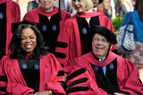 Oprah Winfrey and Boston Mayor Thomas Menino shared a laugh during the ceremonies.
