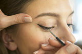 Once you have the initial line drawn, create the triangular shape of the wing and connect it to your upper lash line.