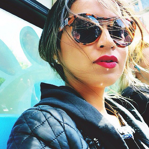 Amerian style star Jules Sarinana showed off a fierce set of red lips — not to mention those fab sunglasses! Source: Instagram user sincerelyjules