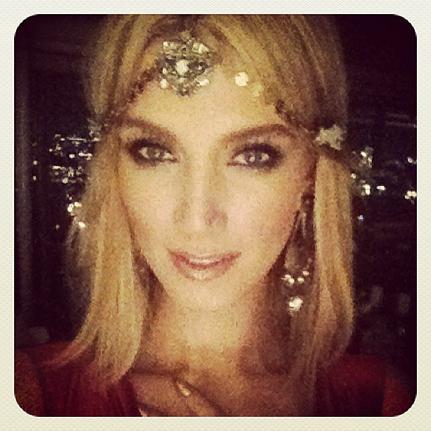 Delta Goodrem modelled a stylish headpiece that Nicole Richie made just for her. Source: Instagram user deltagoodrem