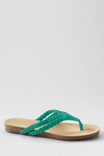 Women's Wide Finley Cork Bottom Braided Leather Thongs
