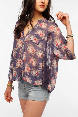 Angie Lace Inset Balloon Blouse