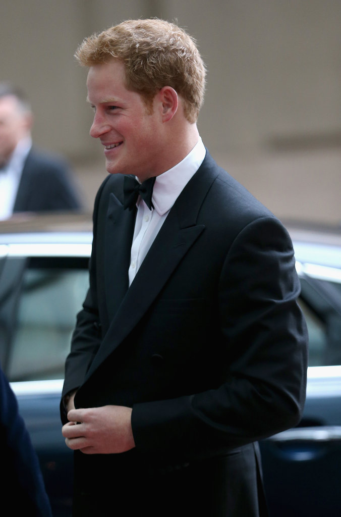 Prince Harry chatted with guests outside the Grosvenor House Hotel.
