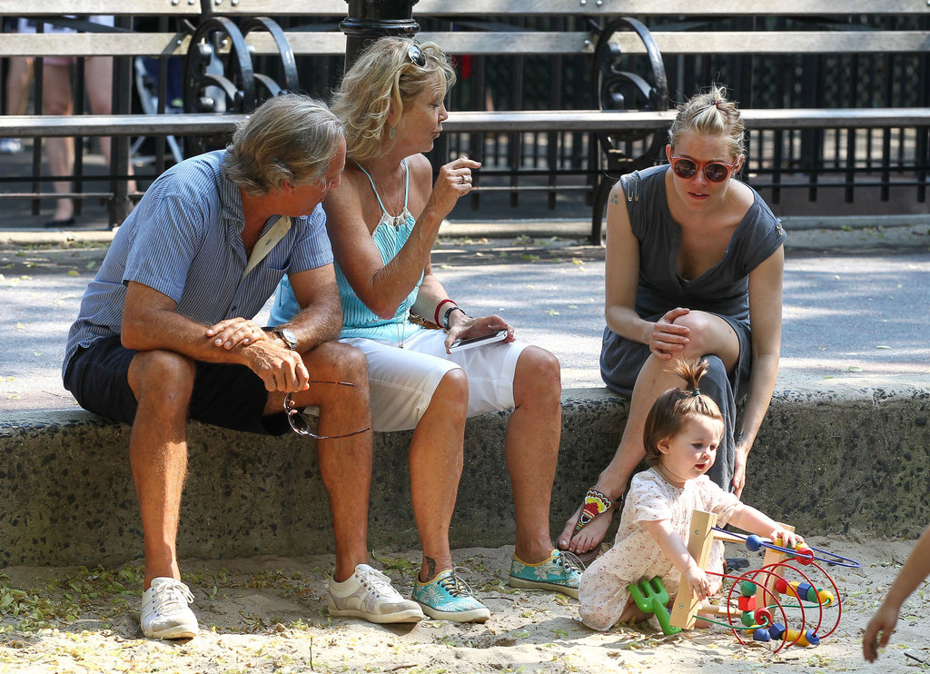 Sienna Miller, her dad, Edwin, and his wife looked after Marlowe while she played at an NYC park.