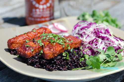 BBQ Sriracha Tempeh with Black Rice