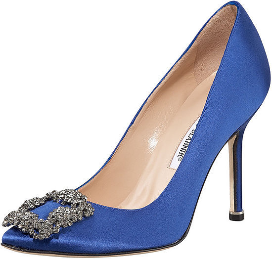 "Adhering to the ""something blue"" — and the ""something new"" — wedding tradition, we couldn't help but fall in love with this gorgeously bejeweled Manolo Blahnik cobalt blue satin pumps ($965) that Carrie Bradshaw bought for her own wedding."
