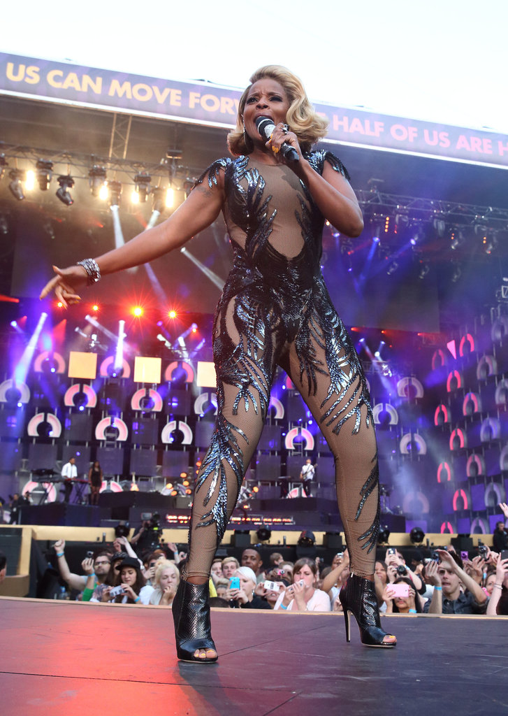 Mary J. Blige showed off her curves in a sequined Gucci bodysuit.
