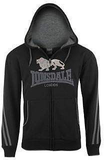 Lonsdale 2 Stripe Large Logo Zipped Hoody Mens - Black Grey Lined Drawcord Hood