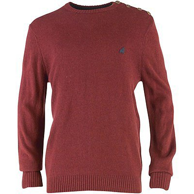 JACK AND JONES Mens Button O-Neck Knit Top Burgundy