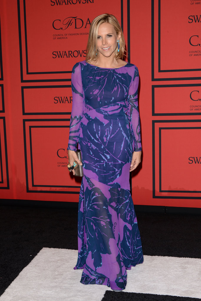 Designer Tory Burch got her print on in a purple and navy Chanel maxi dress, accented artfully with turquoise baubles.