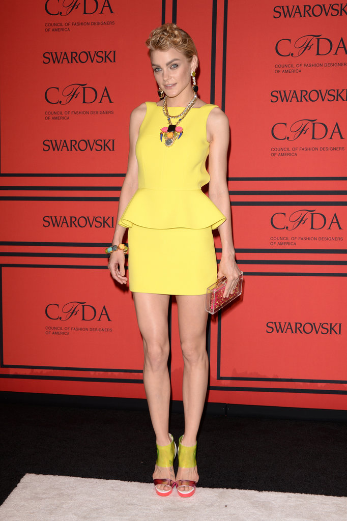 Jessica Stam popped majorly in her yellow Rebecca Minkoff peplum dress. Her add-ons were fun, too.