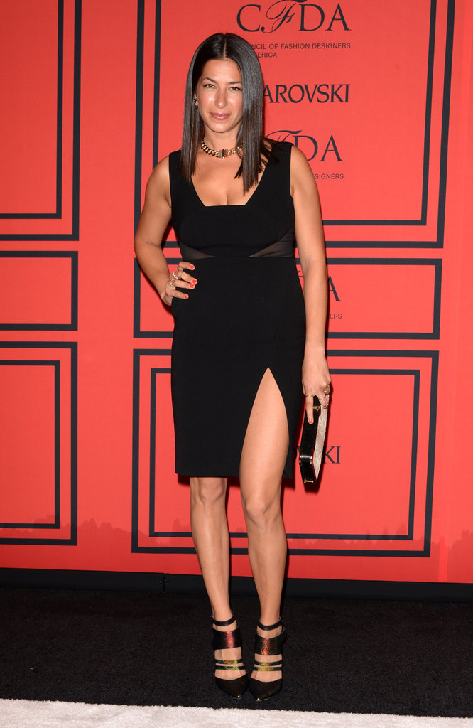 Designer Rebecca Minkoff flashed a little — OK, a lot of — leg in her little black dress.
