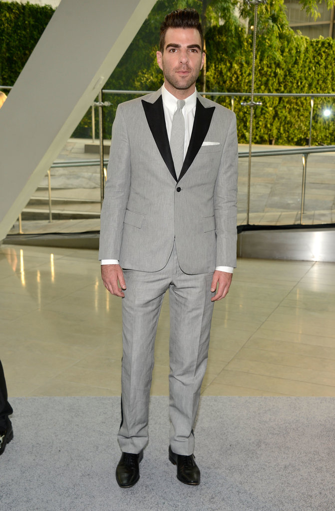 Zachary Quinto wore a gray suit to the CFDA Fashion Awards in NYC.