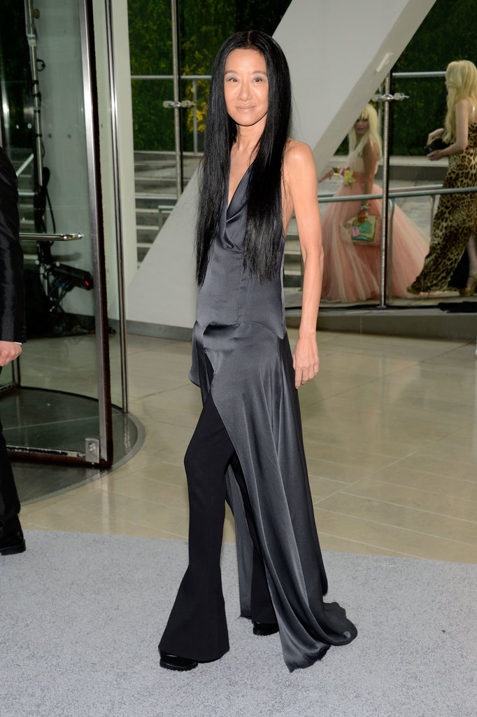 Vera Wang paired a silky gray gown over flared black pants for an extra dramatic effect.