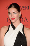 Hilary Rhoda's icy blue eyes got even more of a lift paired up against a vibrant red lip colour.