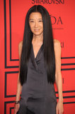 Vera Wang has a signature look, and she's sticking to it: long hair styled sans wave or curl.