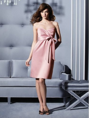 Sexy Bow Satin A-line Sweetheart Knee Length Pink Prom Dress DMBD0045