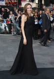 Angelina's custom Saint Laurent gown featured just a touch of sheer at the bodice — the rest was elegant and understated.
