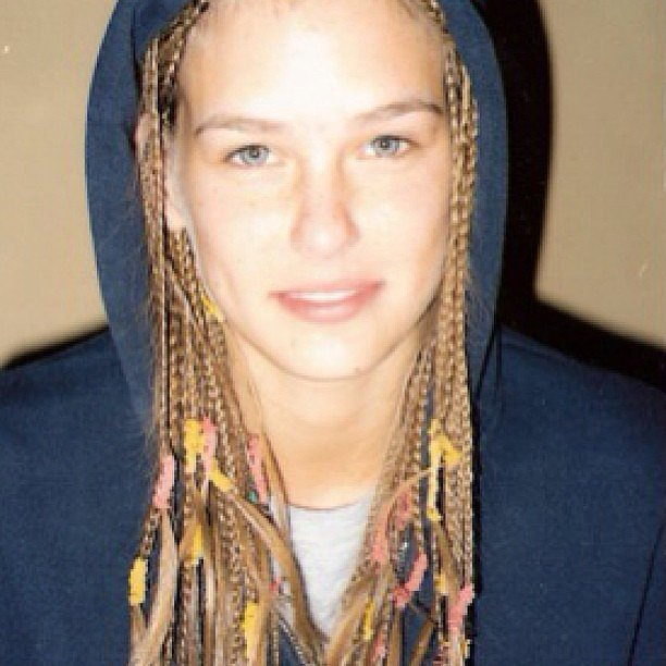 Teenage Bar was having a Bo Derek moment with these braids accented with colorful rubber bands.  Source: Instagram user barrefaeli