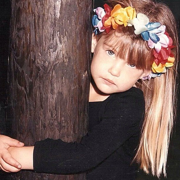 Bar posted this old-school shot of herself with a floral headpiece. Even back then it was clear that modeling was her calling.  Source: Instagram user barrefaeli