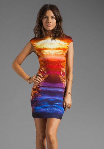 McQ Alexander McQueen Jersey Cap Sleeve Dress in Cobalt/Orange/Pink