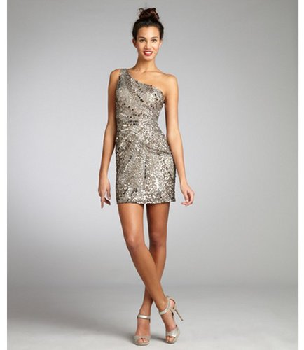 Wyatt silver and gold sequin silk one shoulder party dress