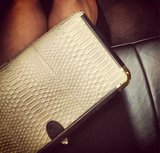 Rebecca Minkoff snapped a pic of her luxe white bag in the car.  Source: Instagram user RebeccaMinkoff